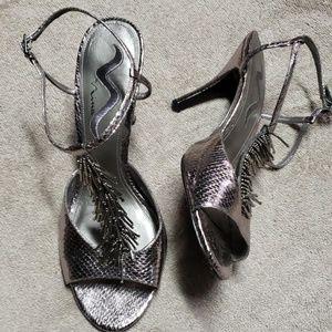 "NINA silver ""snake"" beaded ankle straps. Sz 10"